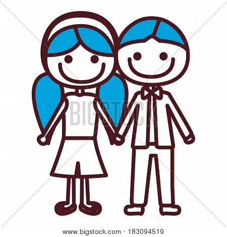 hand drawing silhouette caricature boy blue short hair and girl pigtails hairstyle with taken hands vector illustration