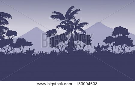 Beauty landscape mountain with jungle silhouettes illustration