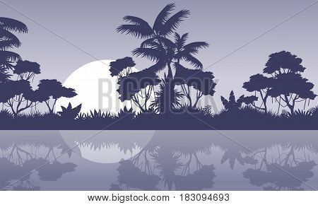 jungle scenery with river silhouette style vector art