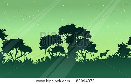 Scenery jungle on green background silhouettes vector art