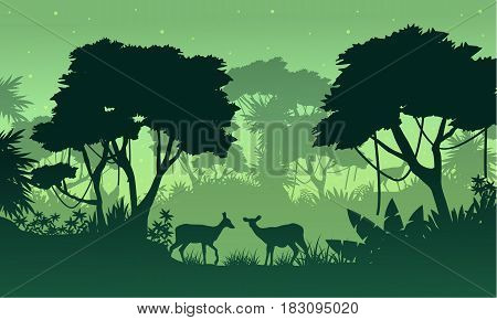 Silhouette of jungle with deer beauty landscape vector illustration