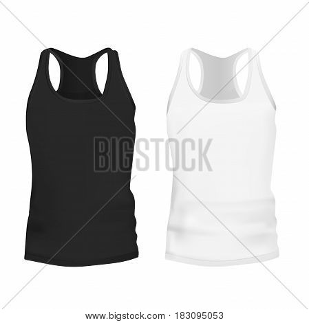 Very high quality original trendy vector illustration of black and white tank top or singlet,