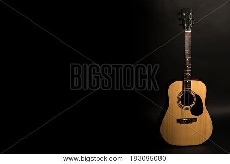 Acoustic Guitar On A Black Background On The Right Side Of The Frame. Stringed Instrument. Horizonta