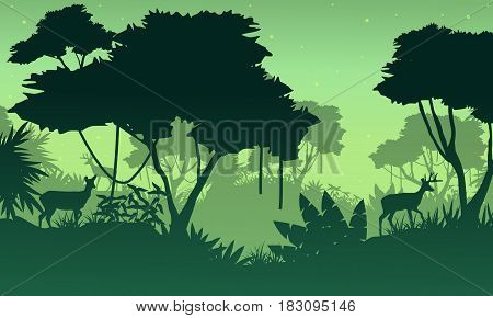 Landscape of jungle with deer silhouette vector illustration