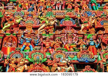 Colorful Carved Walls Of The Indian Temple.