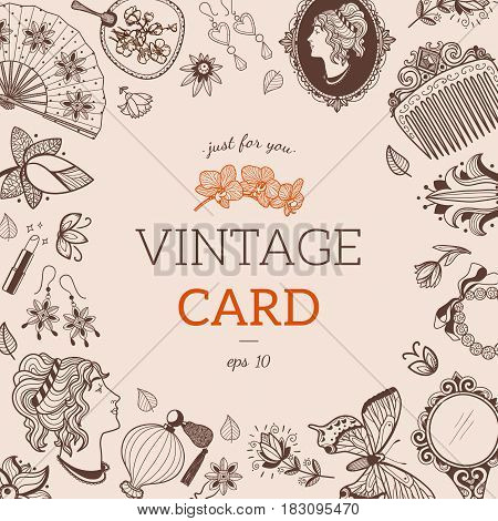 Design for vintage card or invitation. Vector template.