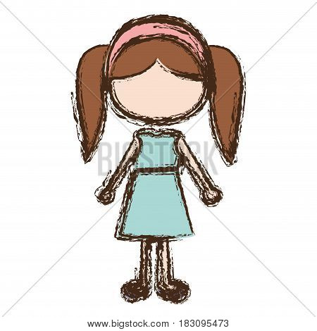 blurred colorful faceless caricature pigtails hair girl with dress vector illustration