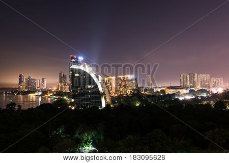 Long Exposure Of Pattaya City Late Night Time In Thailand