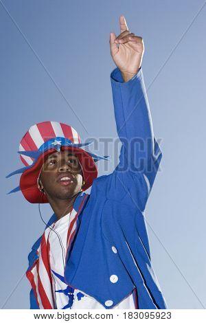 African man wearing patriotic costume