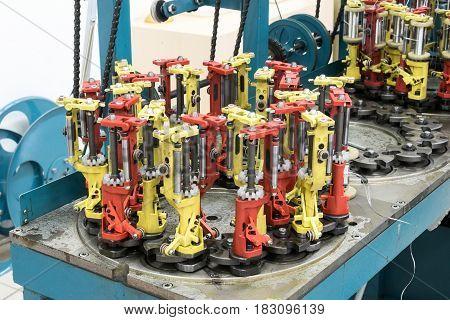 Modern braiding machine. Working mechanisms of the braiding machine.