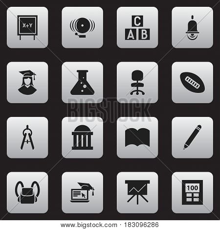 Set Of 16 Editable Science Icons. Includes Symbols Such As Work Seat, Blackboard, Graduated Female And More. Can Be Used For Web, Mobile, UI And Infographic Design.
