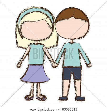 blurred colorful faceless couple in suit informal with taken hands vector illustration