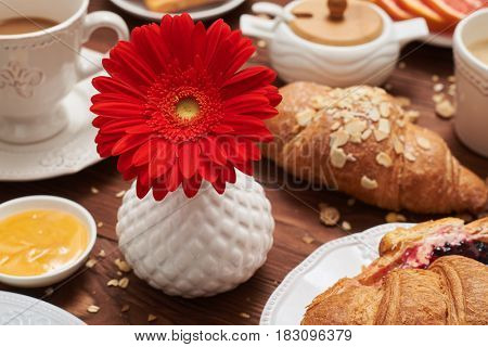 Close-up shot of red flower in vase among healthy breakfast. French croissants sprinkled with almonds, cup of coffee and fruits, and corn flakes