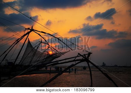 Chinese fishing nets in Fort Kochi Kerala state South India.