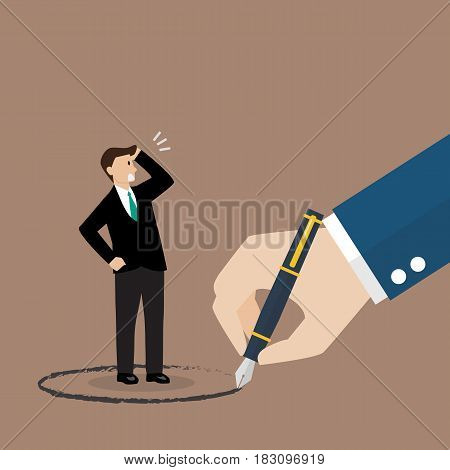 Businessman stand inside a circle painted by big boss. Warning sign