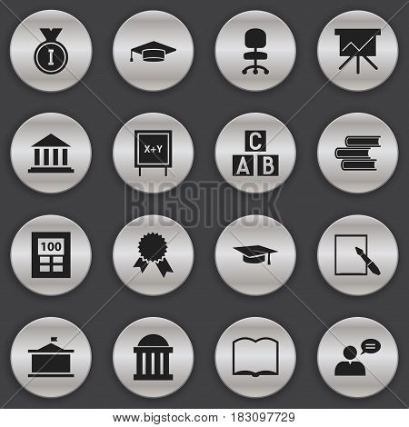 Set Of 16 Editable Education Icons. Includes Symbols Such As Victory Medallion, Notepaper, Work Seat And More. Can Be Used For Web, Mobile, UI And Infographic Design.