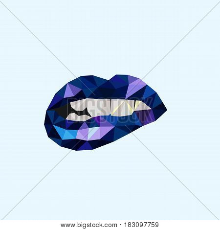 polygon lips blue. For textiles, paper or website