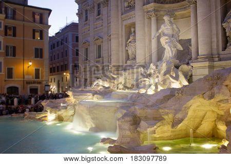 Rome by night Fountain di Trevi Italy