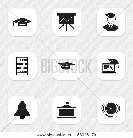 Set Of 9 Editable Graduation Icons. Includes Symbols Such As Arithmetic, Chart Board, Diplomaed Male And More. Can Be Used For Web, Mobile, UI And Infographic Design.