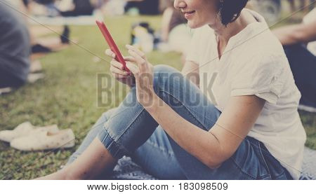 Woman relax using connect smart phone