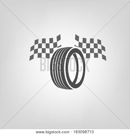 Car tire icon with finish flags in grey colours useful for icon and logotype design on a light background. Realistic graphic style. Transportation automotive concept. Beautiful vector illustration