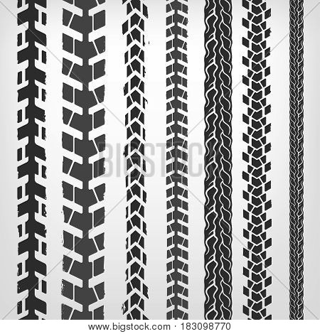 Motorcycle tire tracks vector illustration. Grunge automotive background element useful for poster, print, flyer, book, booklet, brochure and leaflet design. Editable image in white and grey colors.