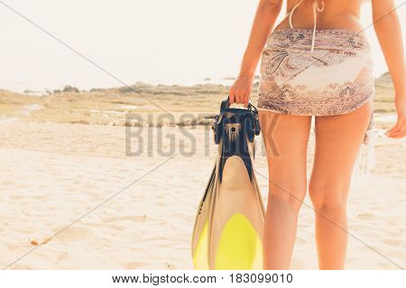 Beautiful Attractive Large Breast Asian Bikini Woman Posing Sexy Portrait On Beach Holding Scuba Div