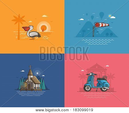 Travel seaside landscapes set with different sea coast scenes. Summer beach backgrounds with marine church, wind sock, pelican bird and blue scooter by sunset. Summer holidays concept illustrations.