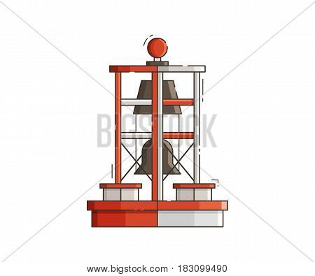 Floating red bell buoy vector illustration. Sea navigation marker isolated on white background. Marine lateral mark icon in flat design.