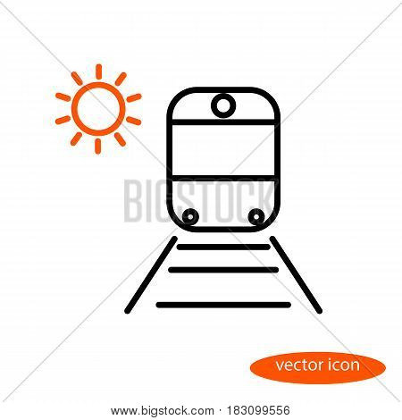 Simple vector image of a train on rails with sleepers and orange sun a flat line icon for a travel agency.