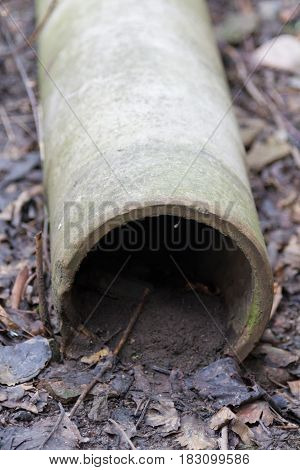 Concrete Pipe On The Ground