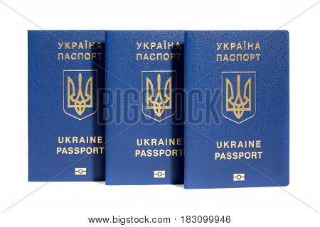Ukrainian biometric passports on a white background