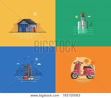 Travel seaside landscapes set with different sea coast scenes. Summer beach backgrounds with beach hut, message bottle, marine beacon and scooter by sunset. Summer holidays concept illustrations.