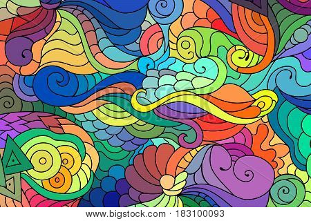 Colorful zentangle doodle background. Tattoo sketch. Ethnic tribal wavy vector illustration.