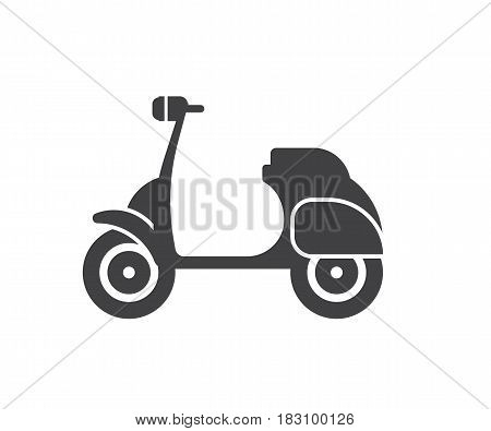 Motor scooter icon. Small motorcycle or moped logo in outline design. Motorbike logotype or label vector illustration.
