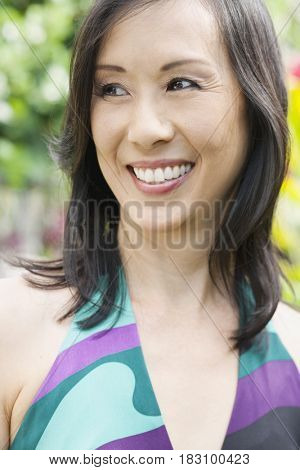 Japanese woman smiling