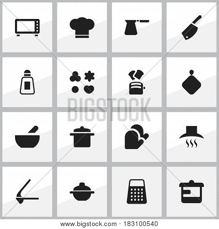 Set Of 16 Editable Cook Icons. Includes Symbols Such As Pot-Holder, Shortcake, Backsword And More. Can Be Used For Web, Mobile, UI And Infographic Design.