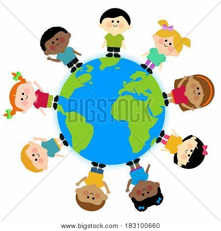 A happy multicultural group of children around the planet Earth