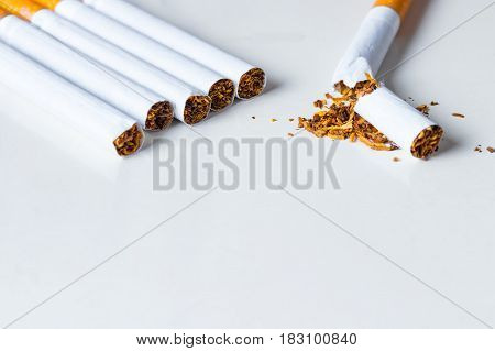 Bunch of cigarettes with one broken on white background. Quiting nicotine and tobacco addiction abstract concept. Copy space on the bottom.