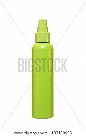 Plastic green bottle of spray on a white background