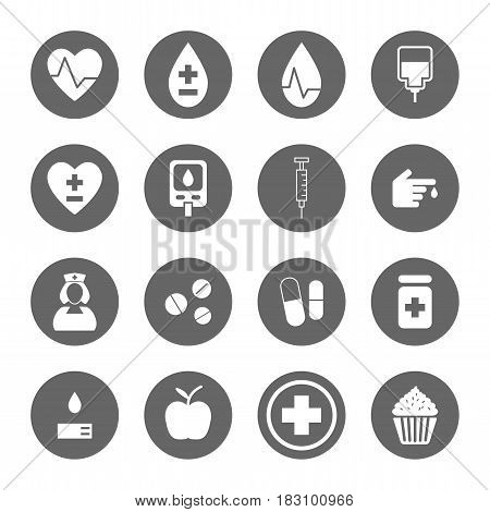 diabetes icons set,vector graphic design Illustration EPS10