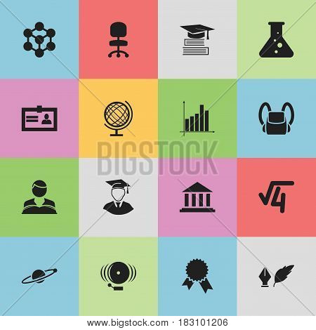 Set Of 16 Editable Education Icons. Includes Symbols Such As Education, Ring, Molecule And More. Can Be Used For Web, Mobile, UI And Infographic Design.