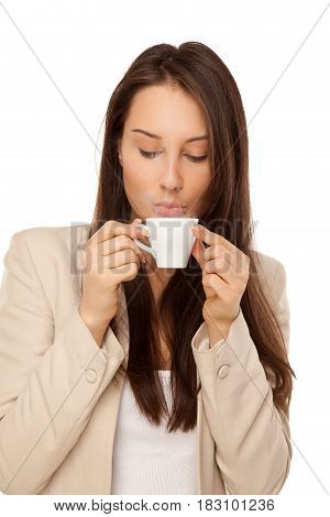 Picture Of Woman In Jacket With Cup Of Coffee Isolated On White