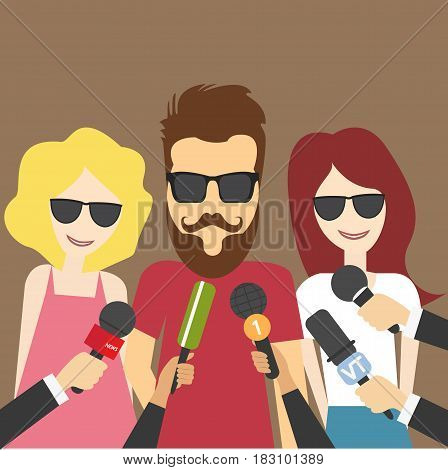 Reporters in live breaking News hold hand microphones vector illustration interview with rock star