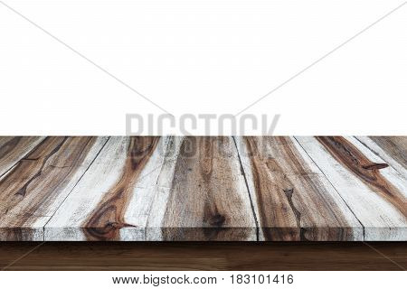 Empty wooden table isolated on white background. For display or montage your products.