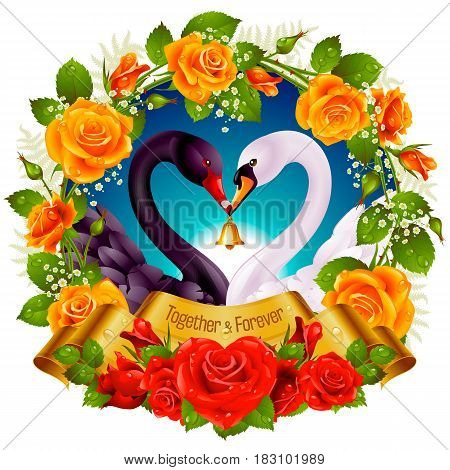 Vector Wreath of Roses, Couple Swans, Ribbon and Dawn Background. Black Cob and White Pen hold a Golden Bell. Birds Neck and Flowers in Heart Shape. Valentines Day Card or Wedding Invitation