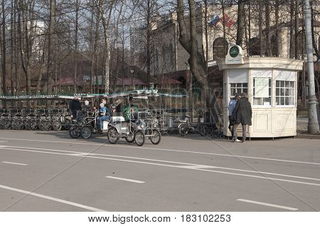MoscowRussia -- April 11 2017: Velomobile rent place in Sokolniki park popular place for rest and entertainment in Moscow