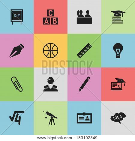 Set Of 16 Editable Science Icons. Includes Symbols Such As Distance Learning, Alphabet Cube, Blackboard And More. Can Be Used For Web, Mobile, UI And Infographic Design.