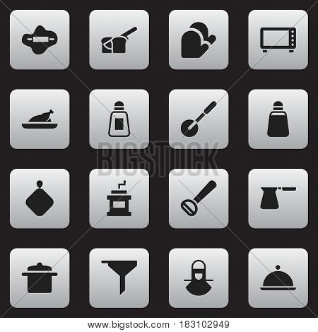 Set Of 16 Editable Meal Icons. Includes Symbols Such As Pot-Holder, Paprika, Husker And More. Can Be Used For Web, Mobile, UI And Infographic Design.