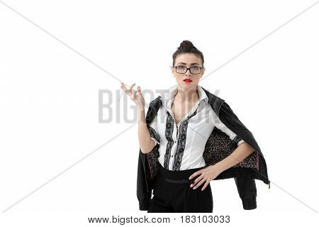 Woman smoking cigarette. Isolated on white background